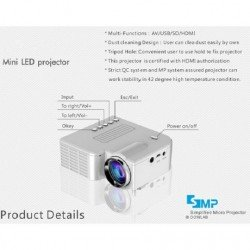 MINI PROJECTOR LED  HDMI USB, SPEAKER OEM A-Z308