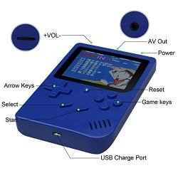 RETRO FC GAMING PLAYER, 3.5INCH LCD RECHARGABLE HANDHELD CONSOLE BUILT-IN 300 GAMES KIDS BLUE GB-40