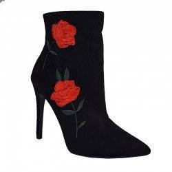 PUBLIC DESIRE BERMUDA ROSE EMBROIDERED ANKLE BOOTS IN BLACK FAUX SUEDE
