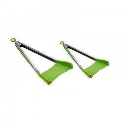 2 IN 1 KITCHEN SPATULA AND TONGS NON-STICK HEAT RESISTANT STAINLESS STEEL FRAME SILICONE CLEVERTONGS