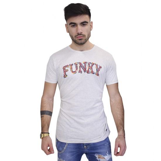 FUNKY BUDDHA GRAPHIC T-SHIRT LT GREY MELANGE FBM023-04118