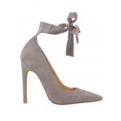 PUBLIC DESIRE MUSE LACE UP STILETTO COURT HEELS IN LIGHT GREY FAUX SUEDE