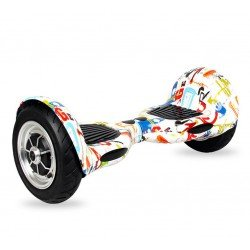 SMART BALANCE HOVERBOARD WHEEL WITH BLUETOOTH & LED ΗΛΕΚΤΡΙΚΟ ΠΑΤΙΝΙ GRAFFITI WHITE HIP HOP 10""