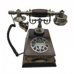 VINTAGE TELEPHONE IDS-930 ΡΕΤΡΌ ΣΤΑΘΕΡΟ ΤΗΛΕΦΩΝΟ ΕΠΙΤΡΑΠΕΖΙΟ ΕΝΣΥΡΜΑΤΟ DARK BROWN 30109-2
