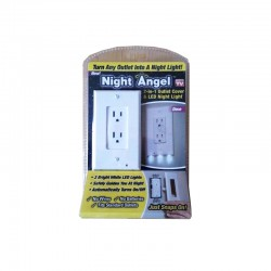 NIGHT ANGEL WALL COVERPLATE WITH AUTOMATIC LIGHT SENSOR AND BUILT-IN LED GUIDELIGHTS FOR SQUARE OUTLETS DECOR