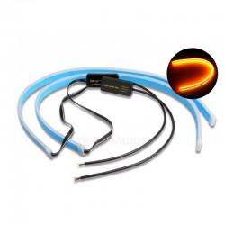 2PCS SET DAYTIME RUNNING LIGHTS SWITCHBACK STRIP LAMP 600MM WHITE/YELLOW