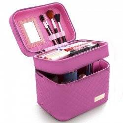 CASI HEAVENLY PINK  QUILTED MAKEUP CASE - ΡΟΖ  ΚΑΠΙΤΟΝΕ ΒΑΛΙΤΣΑΚΙ ΑΙΣΘΗΤΙΚΗΣ