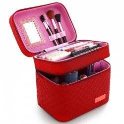 CASI HEAVENLY RED QUILTED MAKEUP CASE - ΚΟΚΚΙΝΟ ΚΑΠΙΤΟΝΕ ΒΑΛΙΤΣΑΚΙ ΑΙΣΘΗΤΙΚΗΣ