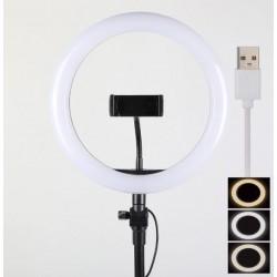 ΦΩΤΙΣΤΙΚΟ ΔΑΧΤΥΛΙΔΙ LED 25,5cm 3 ΧΡΩΜΑΤΩΝ DIMMER ΚΑΙ ΤΡΙΠΟΔΟ ΕΠΙΛΟΓΗ  - USB LED RING LIGHT L180