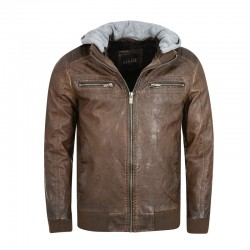 GARAGE FIFTY5 MEN S PU LEATHER BOMBER JACKET ( GAM209-01219 ) - BROWN