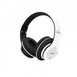 OEM WIRELESS BLUETOOTH HEADPHONES OVER EAR FOLDABLE HEADSET P15 - BLACK/WHITE