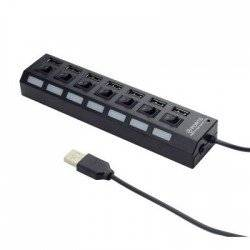 HUB USB 2.0 7-PORT WITH SWITCHES AND P. ADAPTER, BLACK