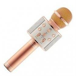 OEM-ΑΣΥΡΜΑΤΟ ΜΙΚΡΟΦΩΝΟ BLUETOOTH ΜΕ ΕΝΣΩΜΑΤΩΜΕΝΟ ΗΧΕΙΟ ΚΑΙ KARAOKE MICROPHONE Q7 WS-858 PINK GOLD
